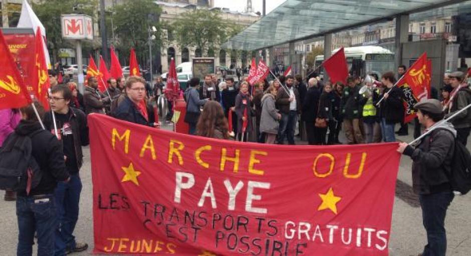 Une centaine de manifestants à Lille pour la gratuité des transports publics !