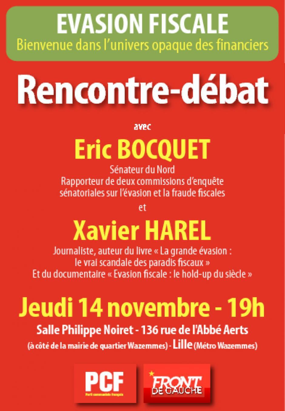 Evasion fiscale : débat le 14 Novembre à Lille avec le sénateur communiste Eric Bocquet