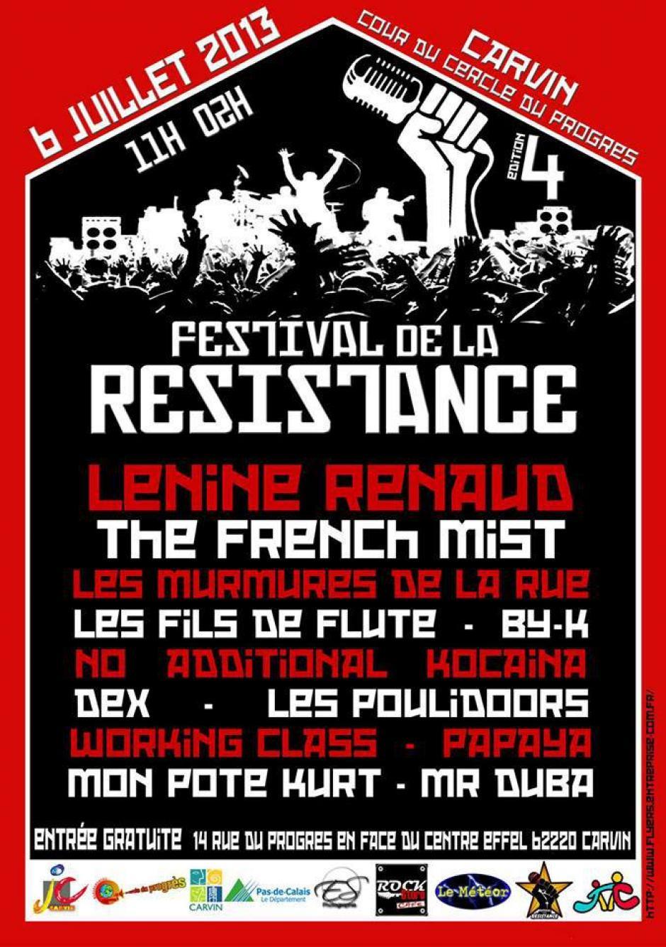Festival de la Résistance 2013 - 4 ème édition à Carvin !