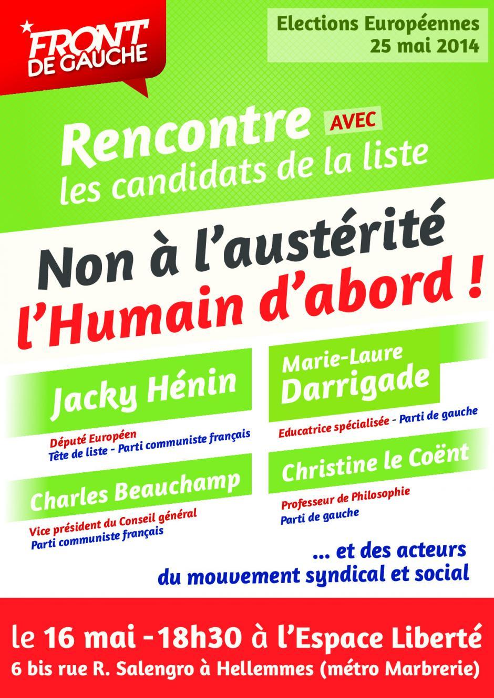 Rencontre avec le candidat communiste aux européennes Jacky Hénin - Vendredi 16 Mai à Hellemmes