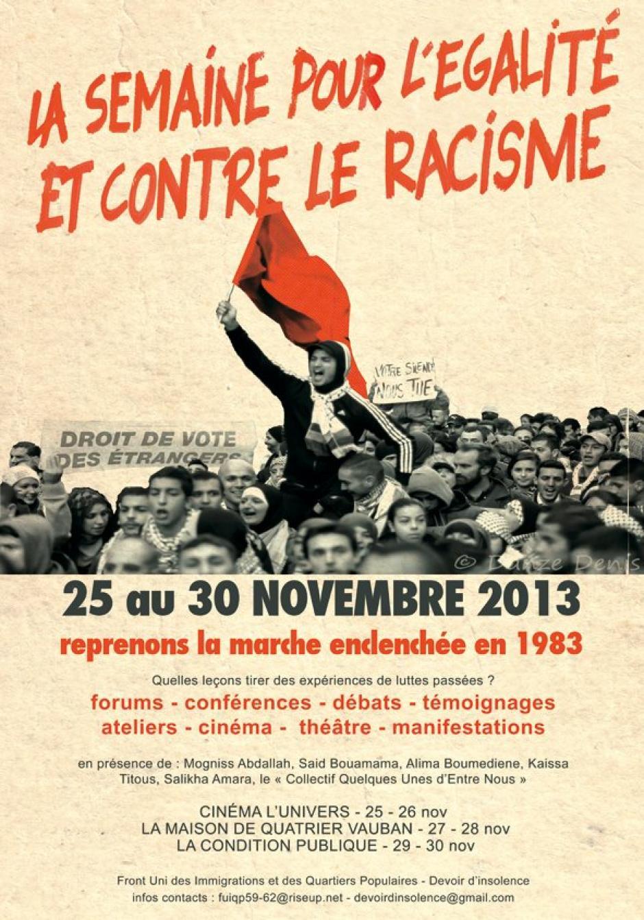 La Semaine Pour L'Egalité et Contre le Racisme - 30e anniversaire de la marche contre le racisme